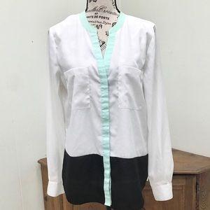 Ivanka Trump color block long sleeve blouse